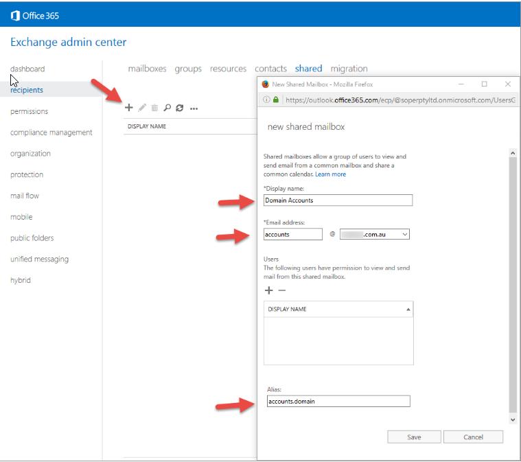 Office 365 Exchange Recipient Configuration